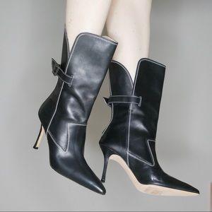 Manolo Blahnik black leather stiletto boots sz 39